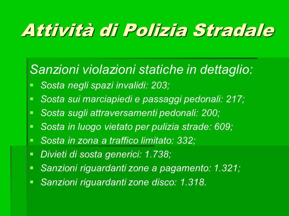 Sanzioni violazioni statiche in dettaglio: Sosta negli spazi invalidi: 203; Sosta sui marciapiedi e passaggi pedonali: 217; Sosta sugli attraversament