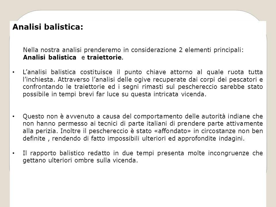 Analisi balistica: Nella nostra analisi prenderemo in considerazione 2 elementi principali: Analisi balistica e traiettorie. Lanalisi balistica costit