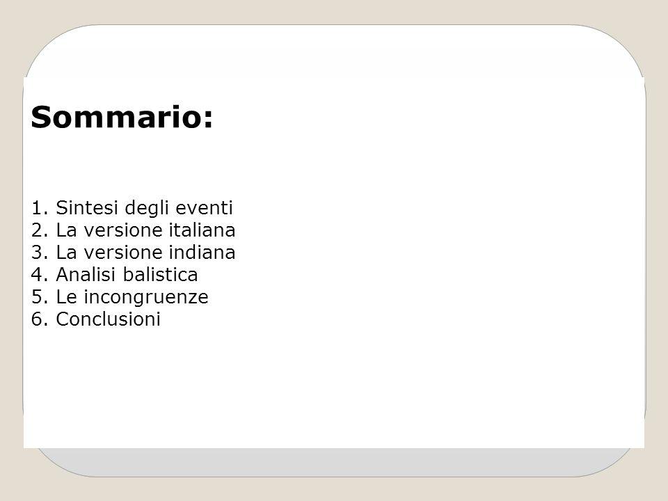 Sommario: 1.Sintesi degli eventi 2.La versione italiana 3.La versione indiana 4.Analisi balistica 5.Le incongruenze 6.Conclusioni
