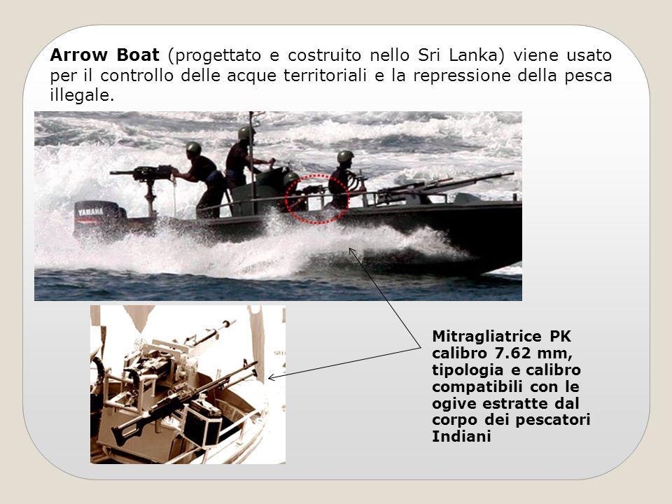 Arrow Boat (progettato e costruito nello Sri Lanka) viene usato per il controllo delle acque territoriali e la repressione della pesca illegale. Mitra