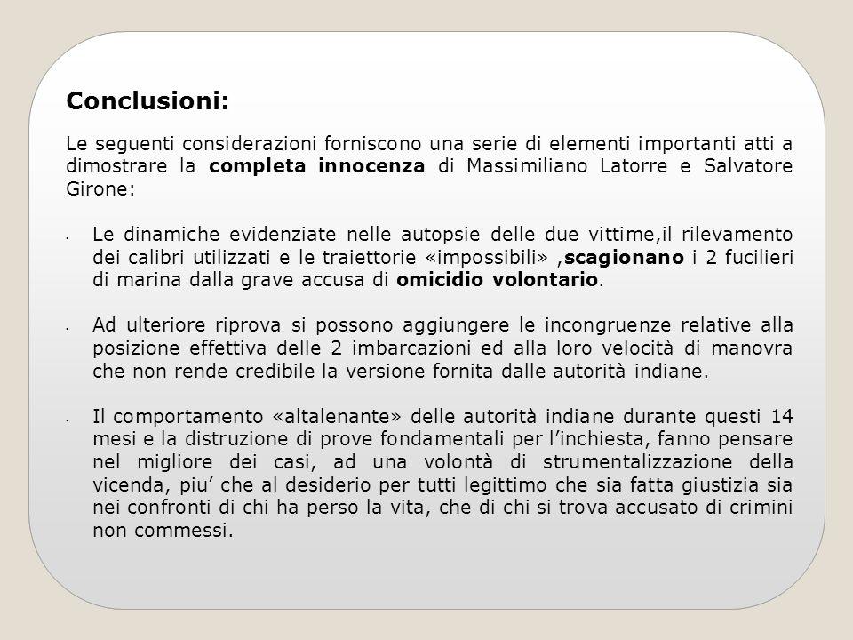 Conclusioni: Le seguenti considerazioni forniscono una serie di elementi importanti atti a dimostrare la completa innocenza di Massimiliano Latorre e