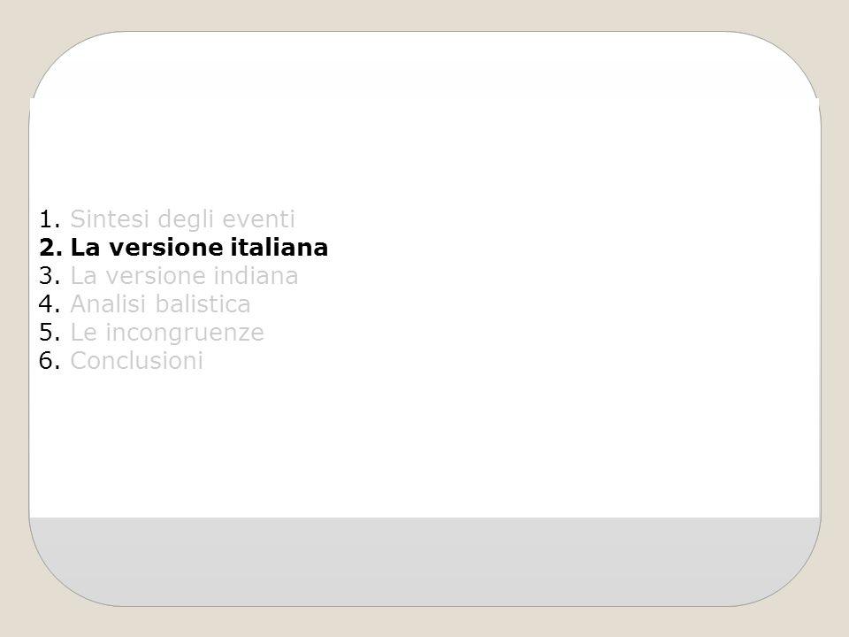 1.Sintesi degli eventi 2.La versione italiana 3.La versione indiana 4.Analisi balistica 5.Le incongruenze 6.Conclusioni