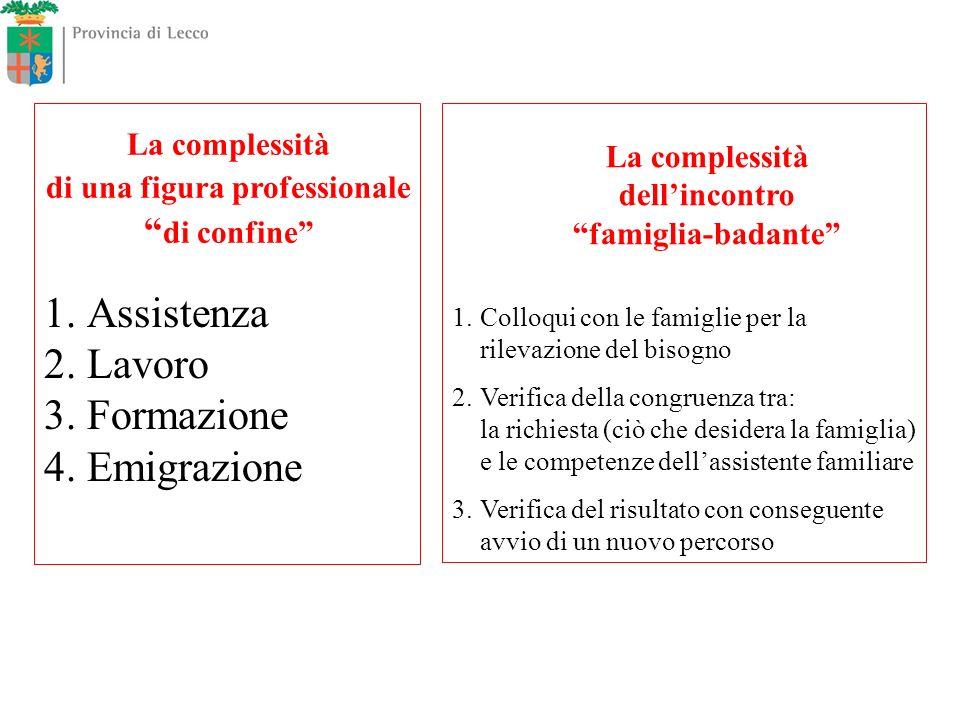 1. Assistenza 2. Lavoro 3. Formazione 4. Emigrazione La complessità di una figura professionale di confine La complessità dellincontro famiglia-badant