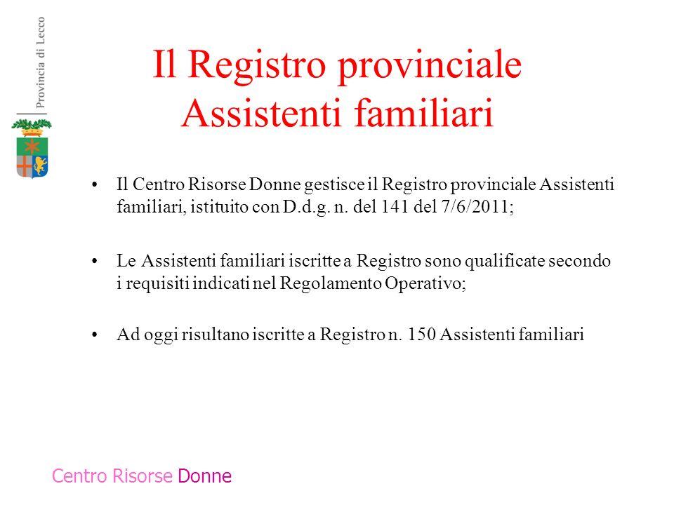 Il Registro provinciale Assistenti familiari Il Centro Risorse Donne gestisce il Registro provinciale Assistenti familiari, istituito con D.d.g. n. de