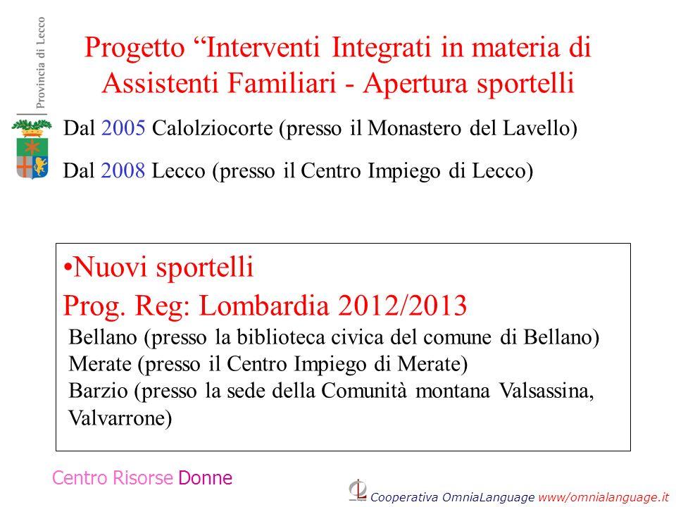 Progetto Interventi Integrati in materia di Assistenti Familiari - Apertura sportelli Centro Risorse Donne Dal 2005 Calolziocorte (presso il Monastero