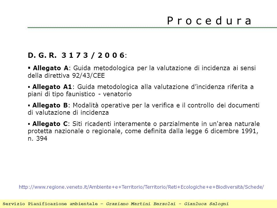 P r o c e d u r a D. G. R. 3 1 7 3 / 2 0 0 6: Allegato A: Guida metodologica per la valutazione di incidenza ai sensi della direttiva 92/43/CEE Allega