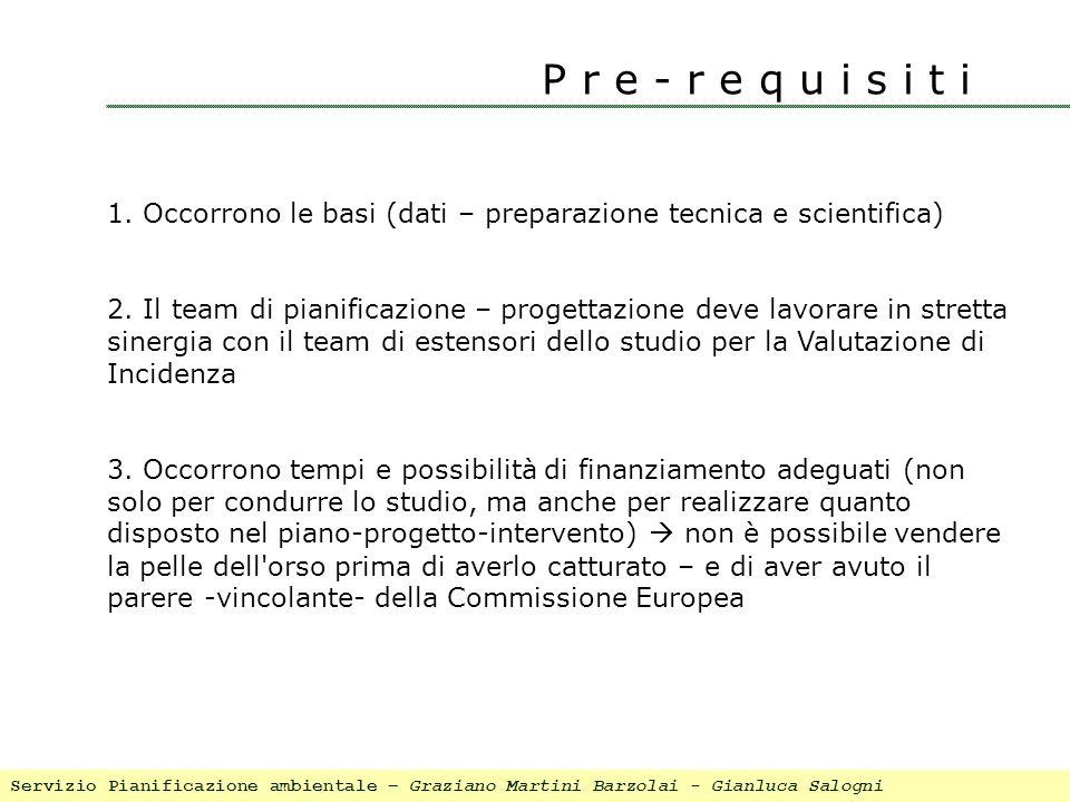 P r e - r e q u i s i t i 1. Occorrono le basi (dati – preparazione tecnica e scientifica) 2. Il team di pianificazione – progettazione deve lavorare