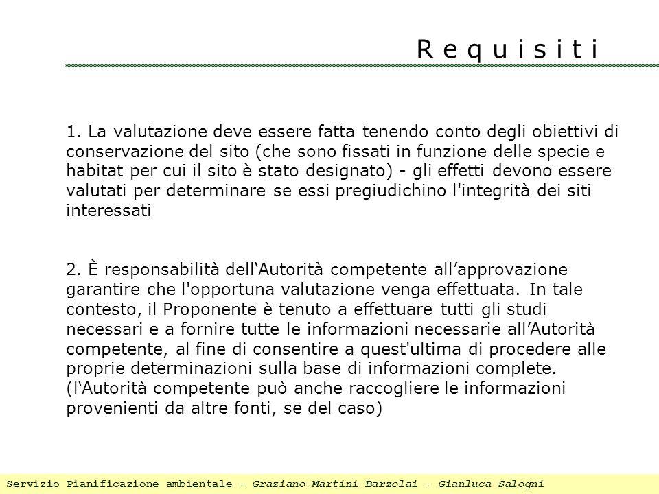 R e q u i s i t i 1. La valutazione deve essere fatta tenendo conto degli obiettivi di conservazione del sito (che sono fissati in funzione delle spec