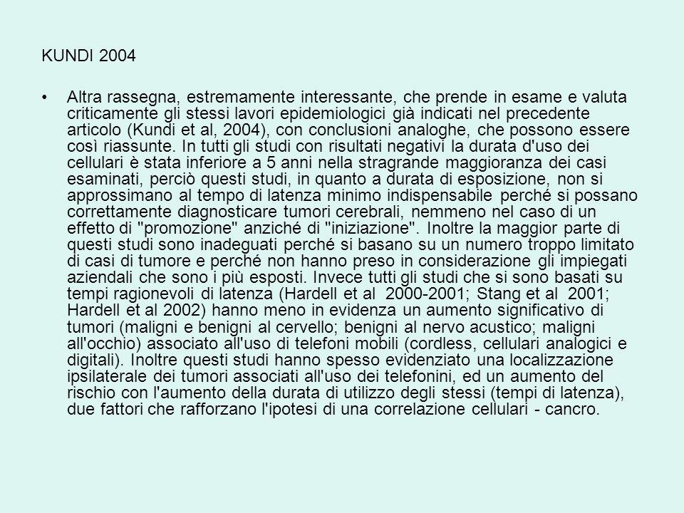 KUNDI 2004 Altra rassegna, estremamente interessante, che prende in esame e valuta criticamente gli stessi lavori epidemiologici già indicati nel prec