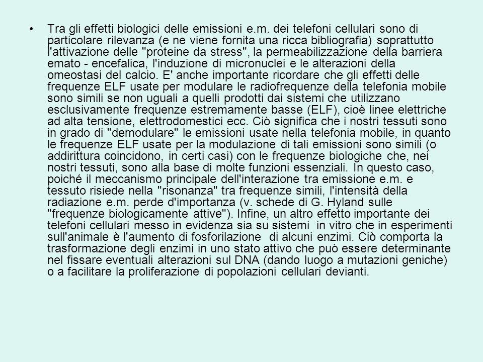 Tra gli effetti biologici delle emissioni e.m.
