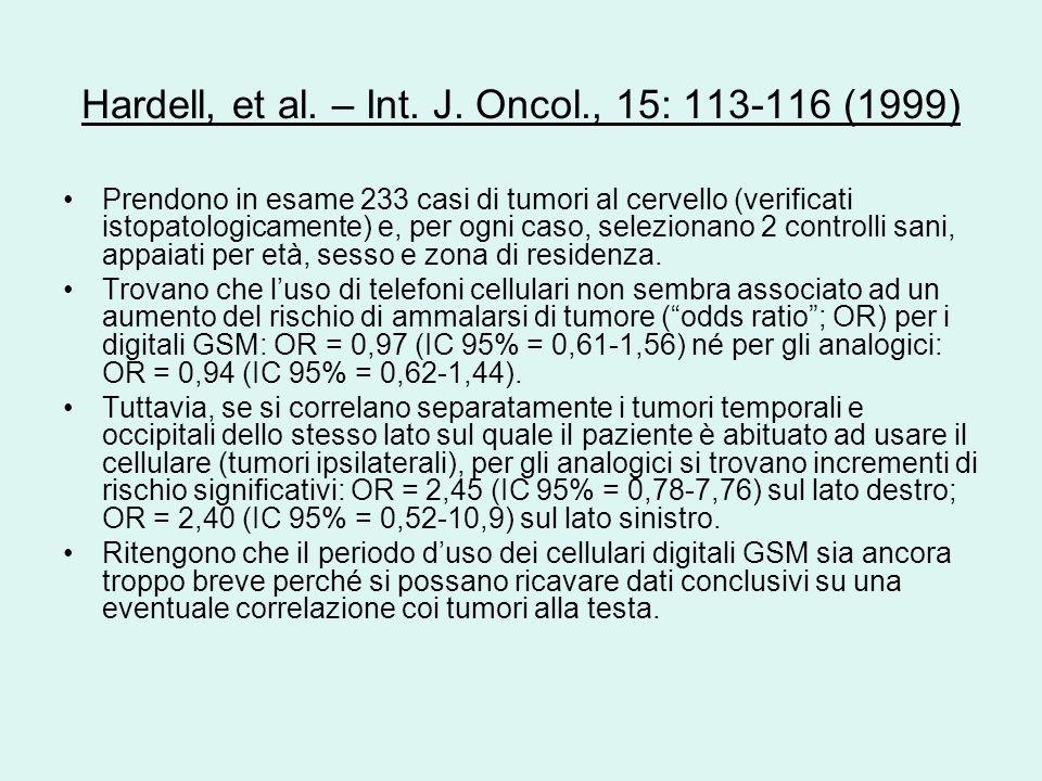 Hardell, et al. – Int. J. Oncol., 15: 113-116 (1999) Prendono in esame 233 casi di tumori al cervello (verificati istopatologicamente) e, per ogni cas
