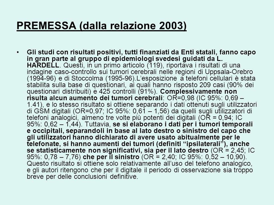 PREMESSA (dalla relazione 2003) Gli studi con risultati positivi, tutti finanziati da Enti statali, fanno capo in gran parte al gruppo di epidemiologi svedesi guidati da L.