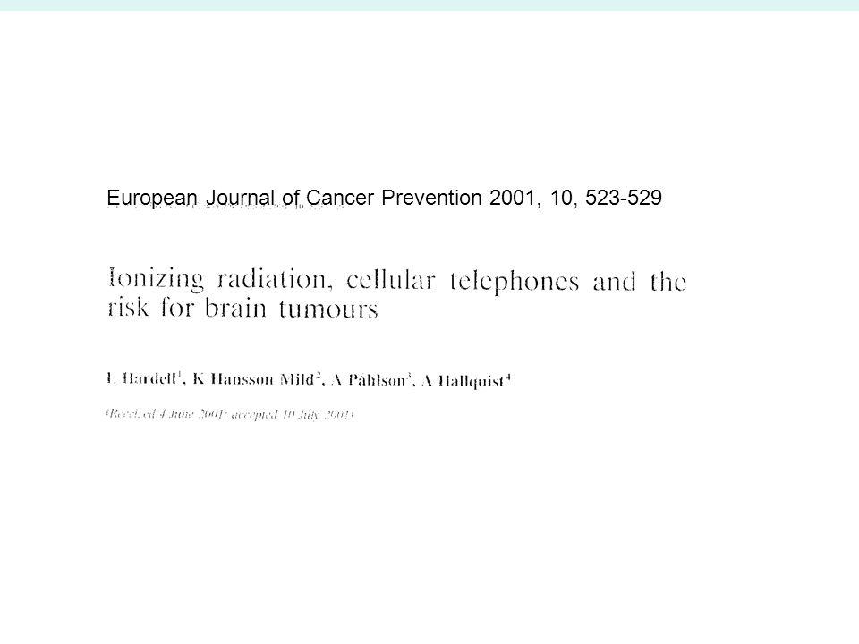 European Journal of Cancer Prevention 2001, 10, 523-529