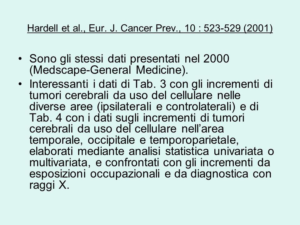 Hardell et al., Eur. J. Cancer Prev., 10 : 523-529 (2001) Sono gli stessi dati presentati nel 2000 (Medscape-General Medicine). Interessanti i dati di
