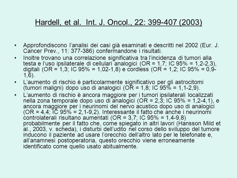 Hardell, et al. Int. J. Oncol., 22: 399-407 (2003) Approfondiscono lanalisi dei casi già esaminati e descritti nel 2002 (Eur. J. Cancer Prev., 11: 377