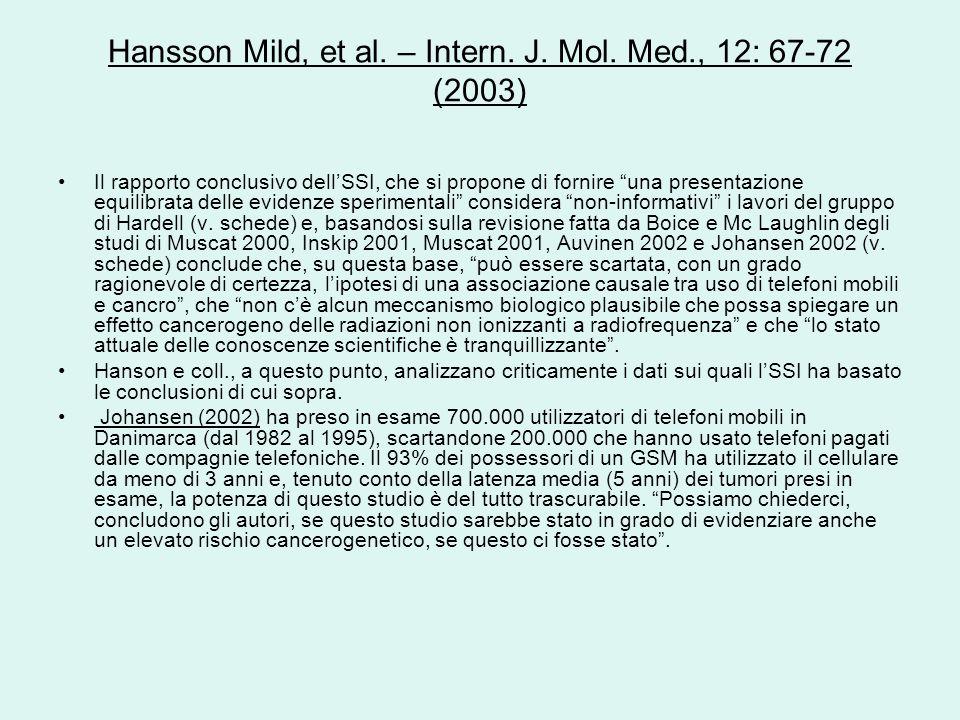 Hansson Mild, et al. – Intern. J. Mol. Med., 12: 67-72 (2003) Il rapporto conclusivo dellSSI, che si propone di fornire una presentazione equilibrata