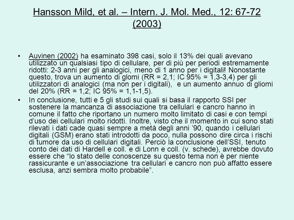 Hansson Mild, et al. – Intern. J. Mol. Med., 12: 67-72 (2003) Auvinen (2002) ha esaminato 398 casi, solo il 13% dei quali avevano utilizzato un qualsi