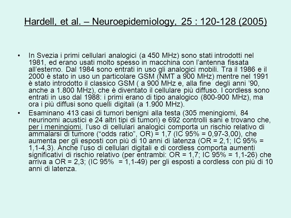 Hardell, et al. – Neuroepidemiology, 25 : 120-128 (2005) In Svezia i primi cellulari analogici (a 450 MHz) sono stati introdotti nel 1981, ed erano us