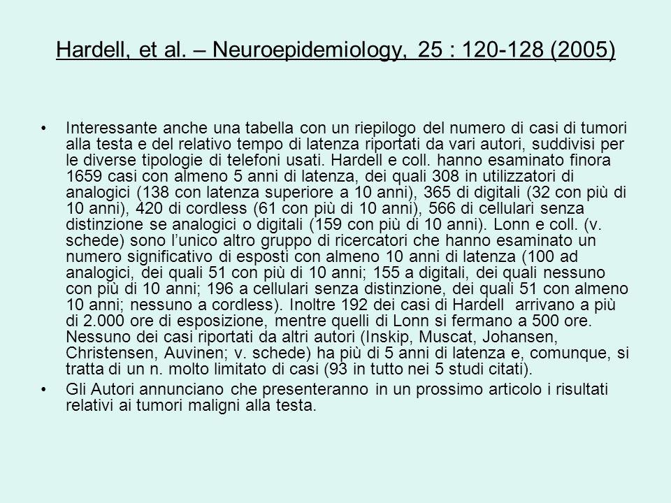 Hardell, et al. – Neuroepidemiology, 25 : 120-128 (2005) Interessante anche una tabella con un riepilogo del numero di casi di tumori alla testa e del