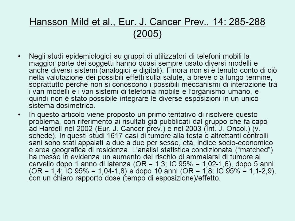 Hansson Mild et al., Eur. J. Cancer Prev., 14: 285-288 (2005) Negli studi epidemiologici su gruppi di utilizzatori di telefoni mobili la maggior parte