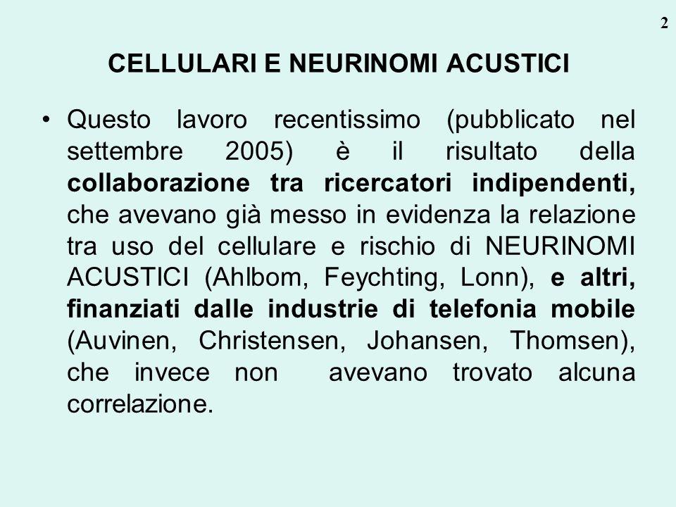 CELLULARI E NEURINOMI ACUSTICI Questo lavoro recentissimo (pubblicato nel settembre 2005) è il risultato della collaborazione tra ricercatori indipend