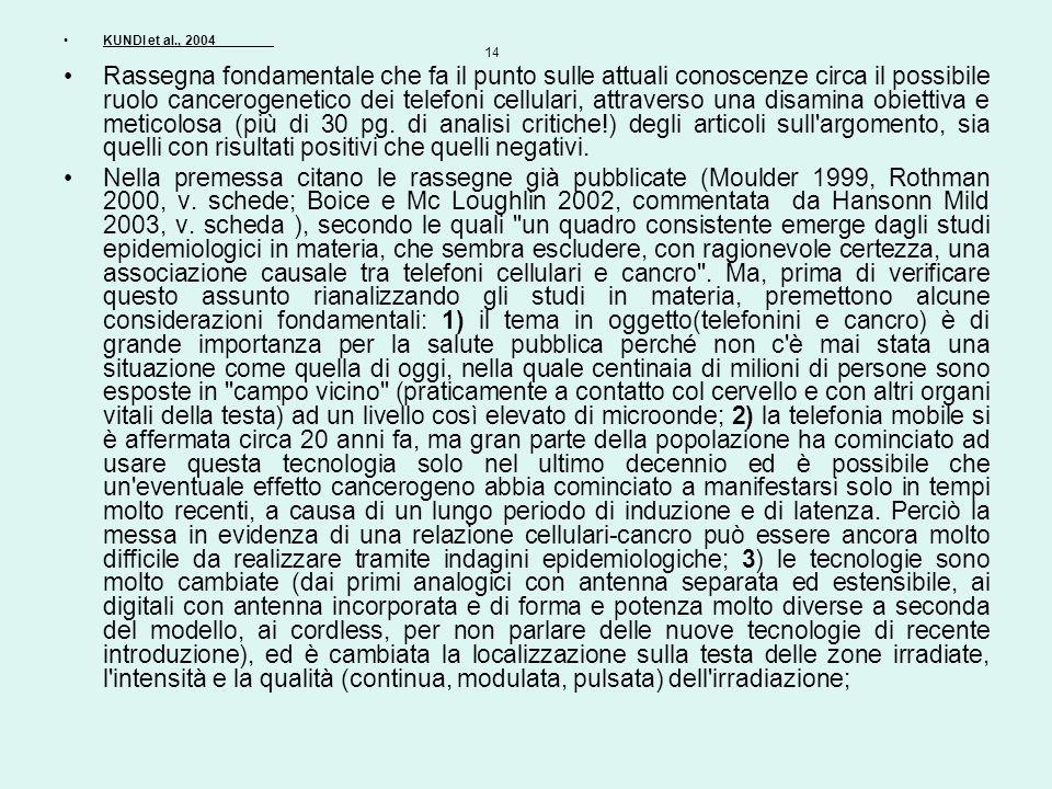 KUNDI et al., 2004 14 Rassegna fondamentale che fa il punto sulle attuali conoscenze circa il possibile ruolo cancerogenetico dei telefoni cellulari,