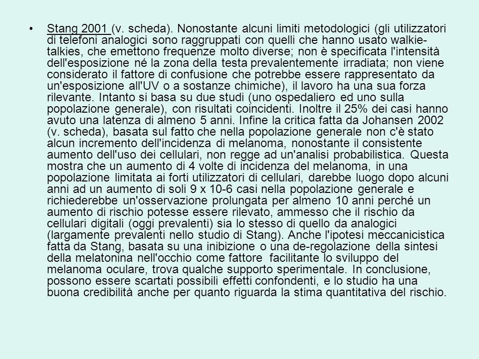 Stang 2001 (v. scheda). Nonostante alcuni limiti metodologici (gli utilizzatori di telefoni analogici sono raggruppati con quelli che hanno usato walk