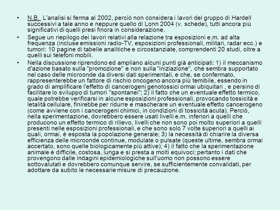 N.B. L'analisi si ferma al 2002, perciò non considera i lavori del gruppo di Hardell successivi a tale anno e neppure quello di Lonn 2004 (v. schede),