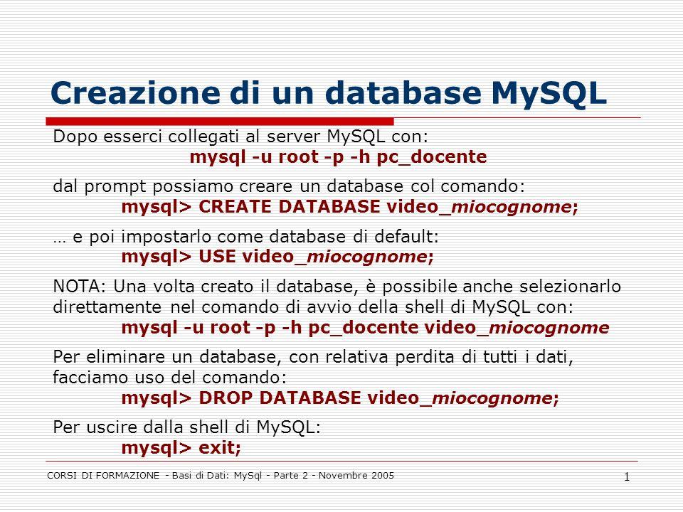 CORSI DI FORMAZIONE - Basi di Dati: MySql - Parte 2 - Novembre 2005 1 Creazione di un database MySQL Dopo esserci collegati al server MySQL con: mysql