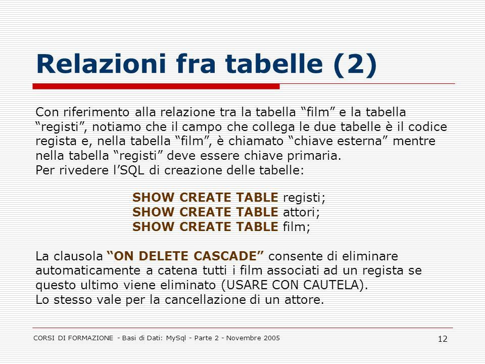 CORSI DI FORMAZIONE - Basi di Dati: MySql - Parte 2 - Novembre 2005 12 Relazioni fra tabelle (2) Con riferimento alla relazione tra la tabella film e