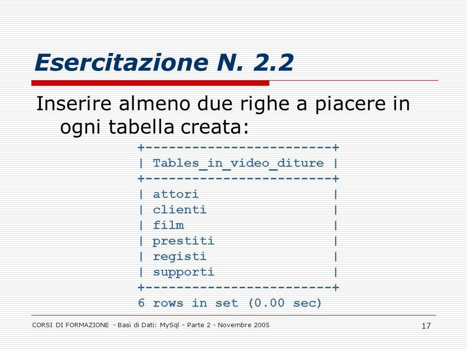 CORSI DI FORMAZIONE - Basi di Dati: MySql - Parte 2 - Novembre 2005 17 Esercitazione N. 2.2 Inserire almeno due righe a piacere in ogni tabella creata