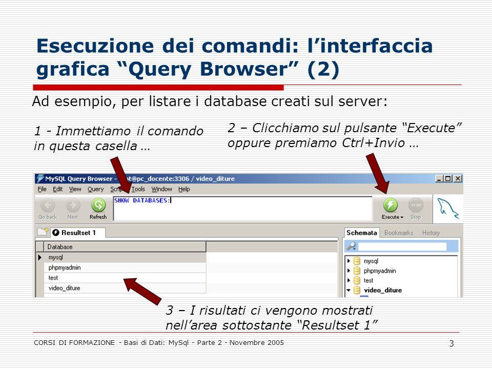 CORSI DI FORMAZIONE - Basi di Dati: MySql - Parte 2 - Novembre 2005 3 Esecuzione dei comandi: linterfaccia grafica Query Browser (2) 1 - Immettiamo il