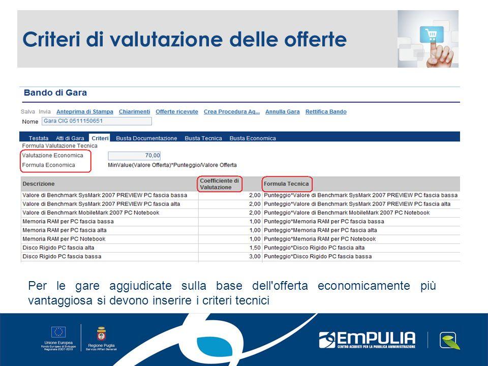 Criteri di valutazione delle offerte Per le gare aggiudicate sulla base dell offerta economicamente più vantaggiosa si devono inserire i criteri tecnici