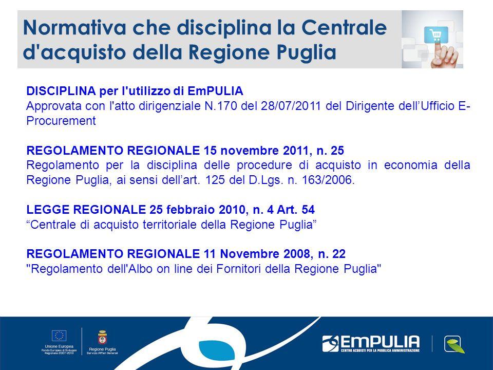 DISCIPLINA per l utilizzo di EmPULIA Approvata con l atto dirigenziale N.170 del 28/07/2011 del Dirigente dellUfficio E- Procurement REGOLAMENTO REGIONALE 15 novembre 2011, n.