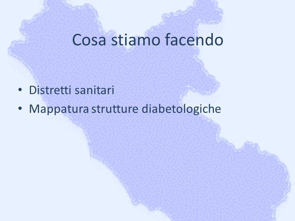 Cosa stiamo facendo Distretti sanitari Mappatura strutture diabetologiche