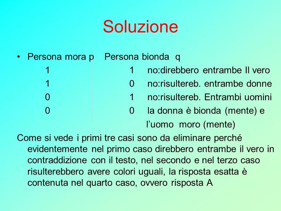 Soluzione Persona mora p Persona bionda q 11 no:direbbero entrambe Il vero 10 no:risultereb. entrambe donne 01 no:risultereb. Entrambi uomini 00 la do
