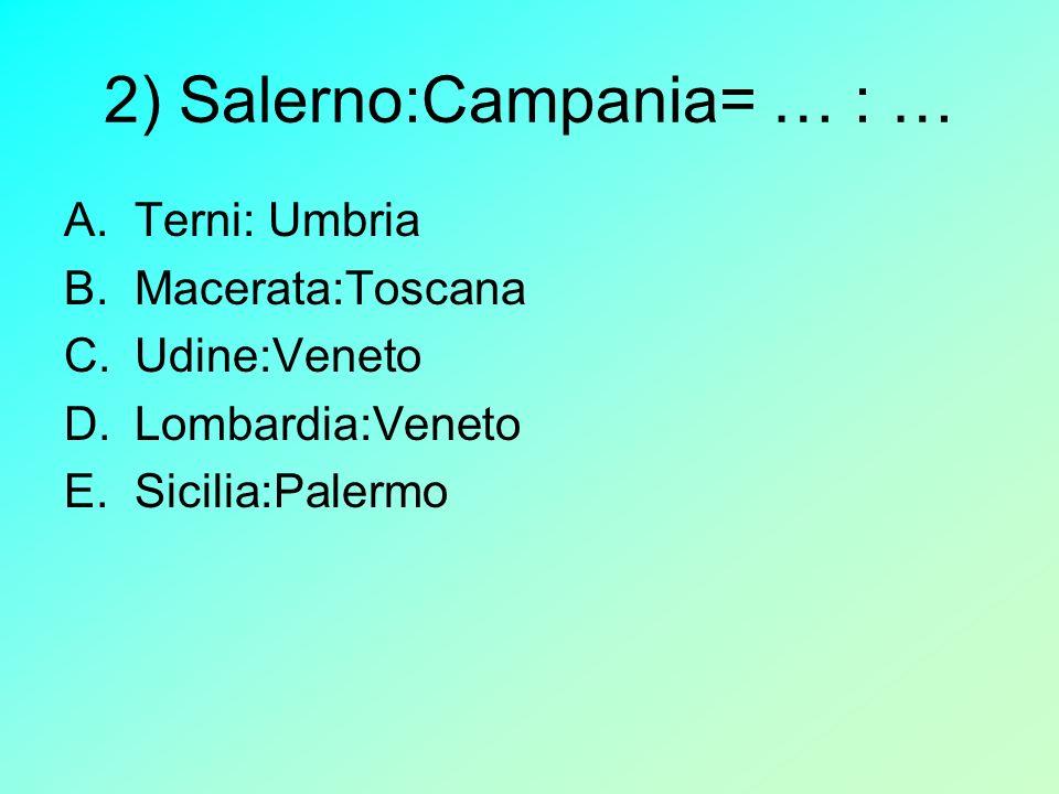 2) Salerno:Campania= … : … A.Terni: Umbria B.Macerata:Toscana C.Udine:Veneto D.Lombardia:Veneto E.Sicilia:Palermo