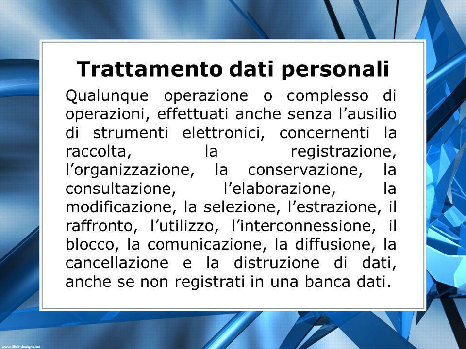 Trattamento dati personali Qualunque operazione o complesso di operazioni, effettuati anche senza lausilio di strumenti elettronici, concernenti la ra