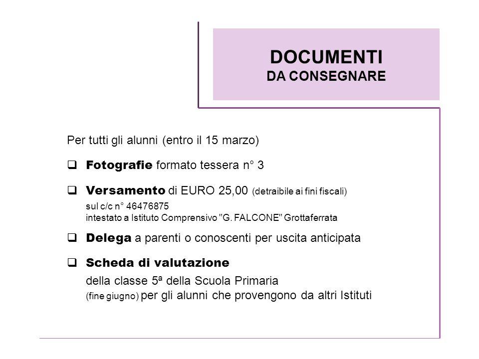 Per tutti gli alunni (entro il 15 marzo) Fotografie formato tessera n° 3 Versamento di EURO 25,00 (detraibile ai fini fiscali) sul c/c n° 46476875 int