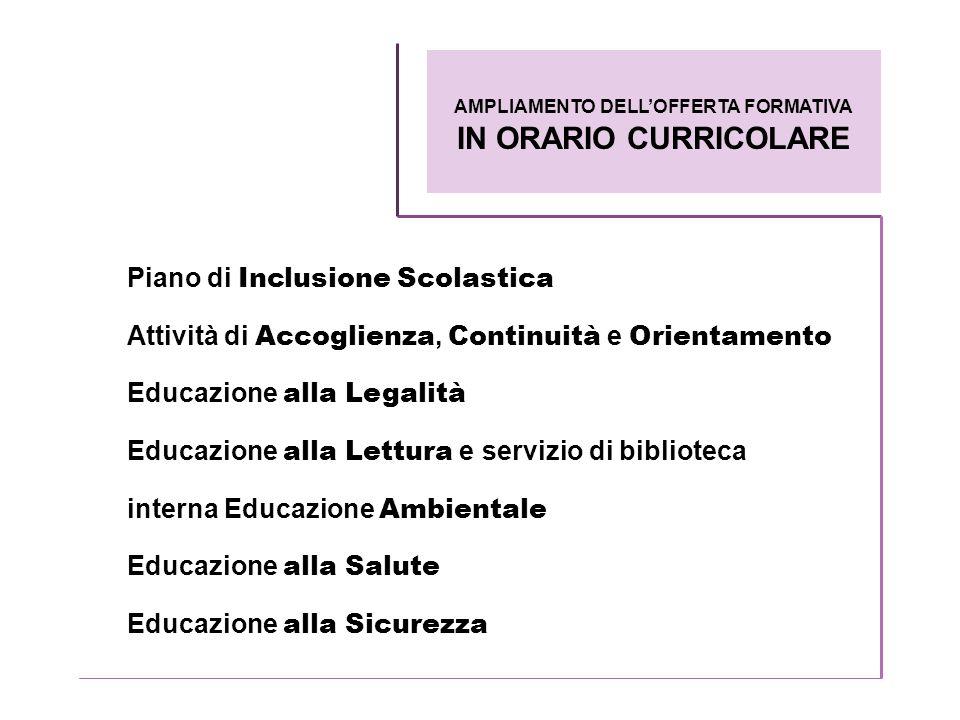 Piano di Inclusione Scolastica Attività di Accoglienza, Continuità e Orientamento Educazione alla Legalità Educazione alla Lettura e servizio di bibli