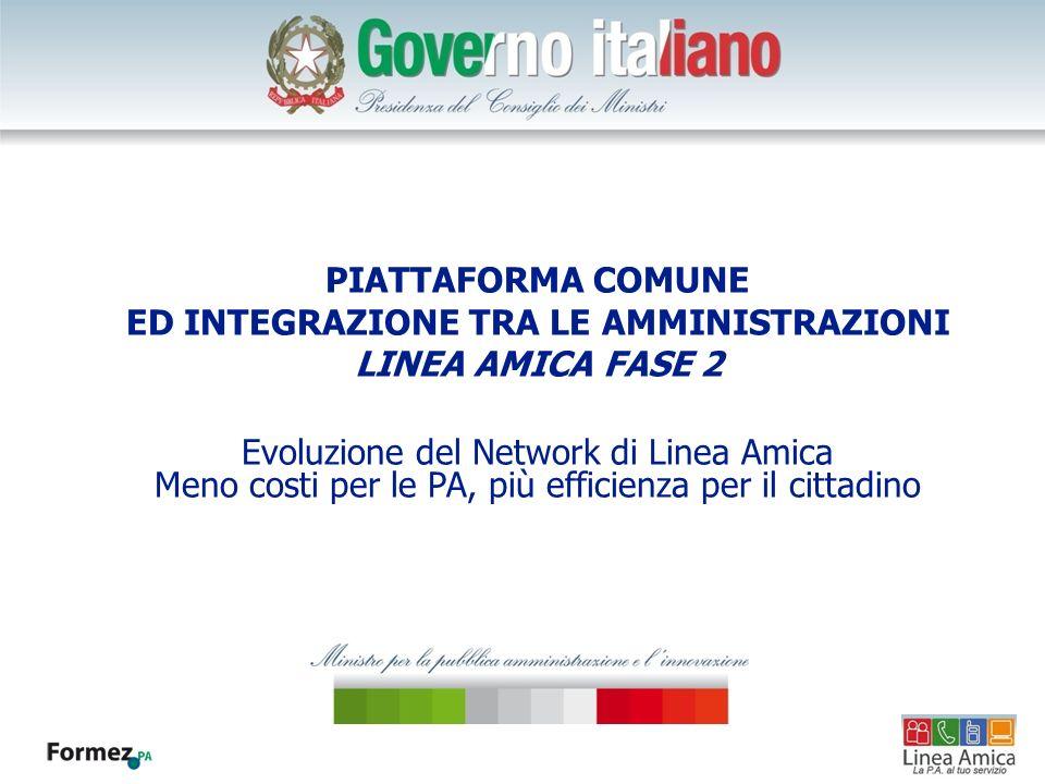PIATTAFORMA COMUNE ED INTEGRAZIONE TRA LE AMMINISTRAZIONI LINEA AMICA FASE 2 Evoluzione del Network di Linea Amica Meno costi per le PA, più efficienza per il cittadino