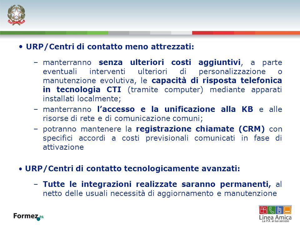 URP/Centri di contatto meno attrezzati: –manterranno senza ulteriori costi aggiuntivi, a parte eventuali interventi ulteriori di personalizzazione o m