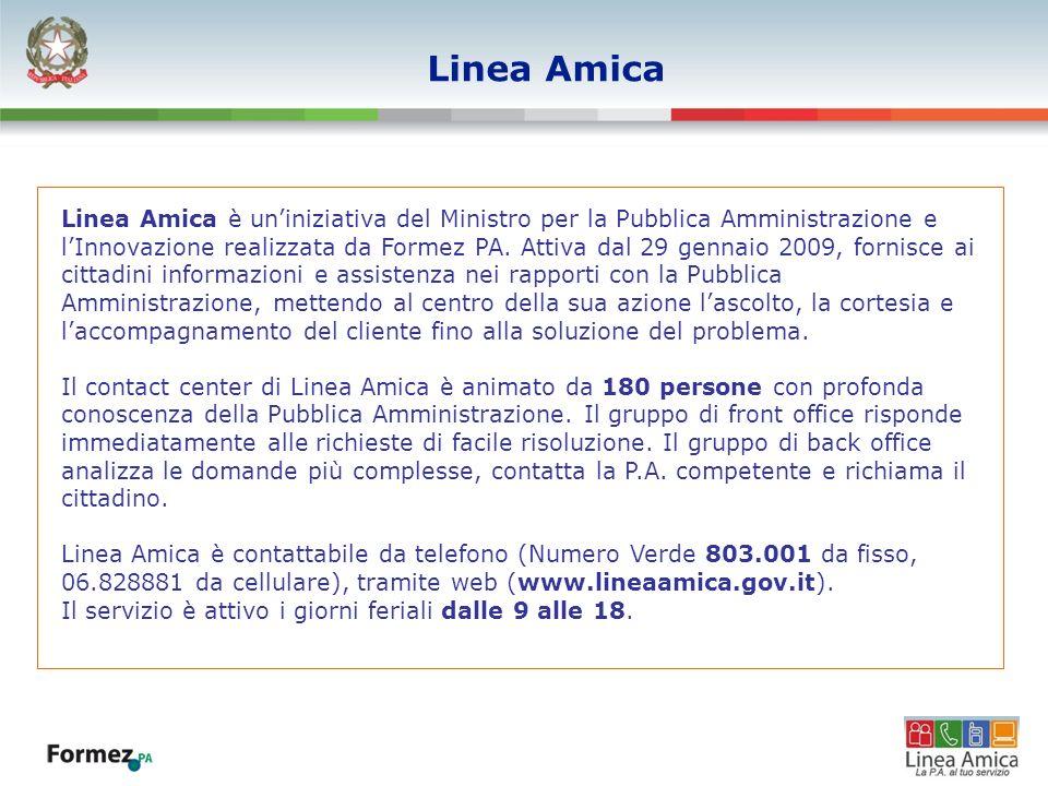 Linea Amica Linea Amica è uniniziativa del Ministro per la Pubblica Amministrazione e lInnovazione realizzata da Formez PA. Attiva dal 29 gennaio 2009