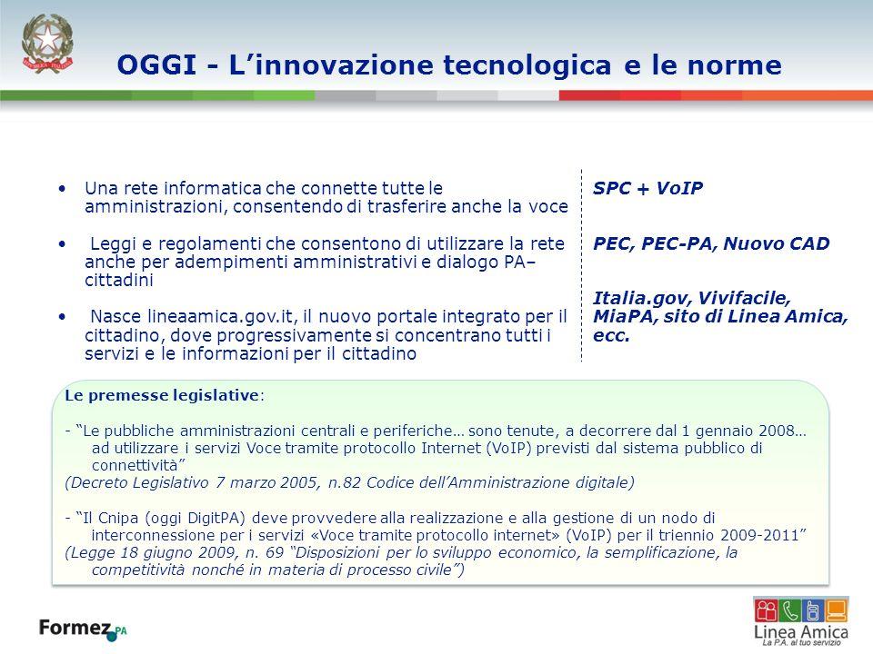 OGGI - Linnovazione tecnologica e le norme Una rete informatica che connette tutte le amministrazioni, consentendo di trasferire anche la voce Leggi e