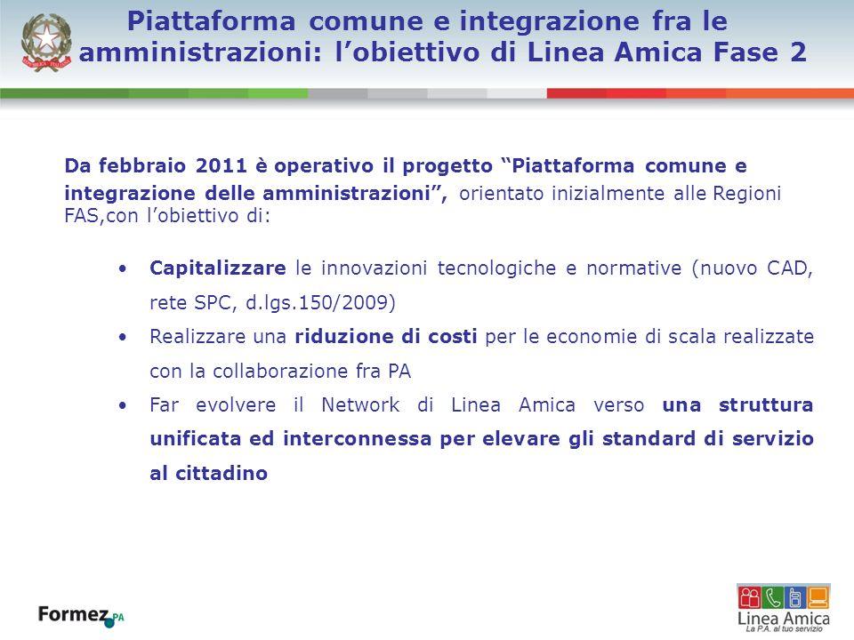 Da febbraio 2011 è operativo il progetto Piattaforma comune e integrazione delle amministrazioni, orientato inizialmente alle Regioni FAS,con lobietti