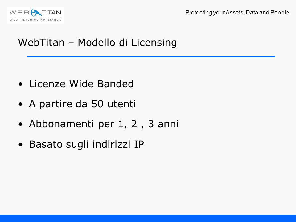 Protecting your Assets, Data and People. WebTitan – Listino Prezzi