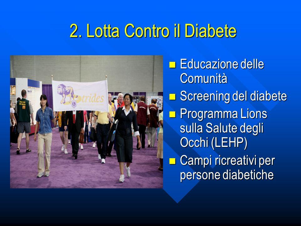 2. Lotta Contro il Diabete Educazione delle Comunità Educazione delle Comunità Screening del diabete Screening del diabete Programma Lions sulla Salut