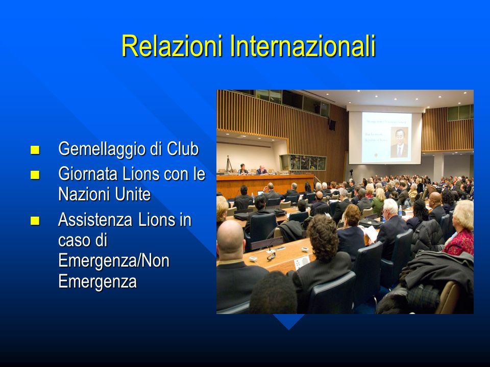 Relazioni Internazionali Relazioni Internazionali Gemellaggio di Club Gemellaggio di Club Giornata Lions con le Nazioni Unite Giornata Lions con le Nazioni Unite Assistenza Lions in caso di Emergenza/Non Emergenza Assistenza Lions in caso di Emergenza/Non Emergenza