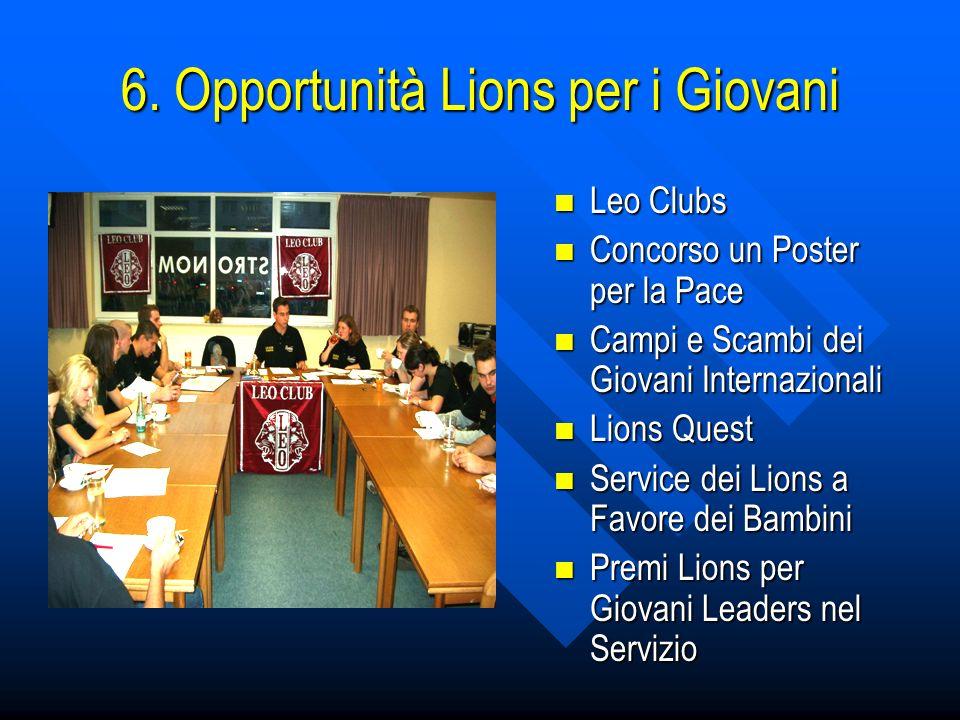 6. Opportunità Lions per i Giovani Leo Clubs Leo Clubs Concorso un Poster per la Pace Concorso un Poster per la Pace Campi e Scambi dei Giovani Intern