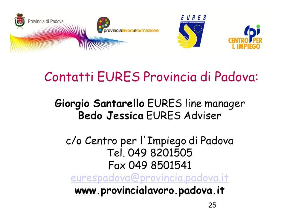 25 Contatti EURES Provincia di Padova: Giorgio Santarello EURES line manager Bedo Jessica EURES Adviser c/o Centro per l Impiego di Padova Tel.